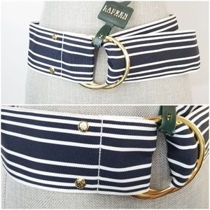 Ralph Lauren Navy Blue and White Stripe Belt
